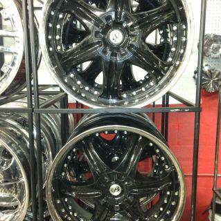 22 22 Inch Rims Wheels Used Black W Chrome Lip 5x120 5x115 5x114 3 5x4