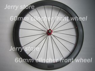 Deep Carbon Road Bicycle Clincher Wheels Front Wheel Only 700c