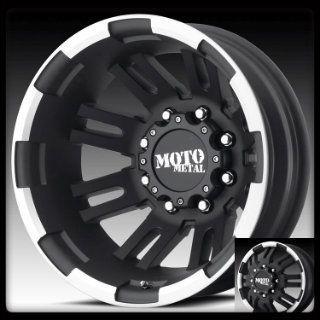 Dually MO963 16x6 8 Lug Black Wheels Rims 4 New FREE Caps Lugs Stems