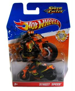 Hot Wheels Speed Cycles Street Speed Orange Motorcycle and Rider New