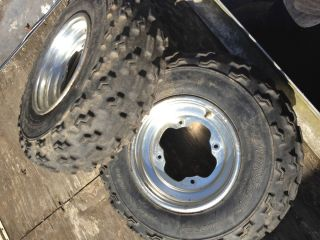 2001 Yamaha Raptor 660 Front Tires with Rims Wheels Dunlop