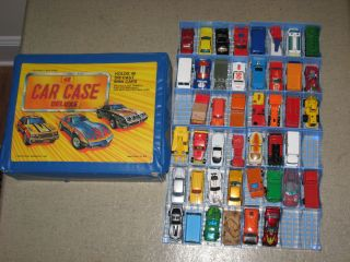 1970s and 1980s Lot of 44 Hot Wheels Matchbox Cars in Case