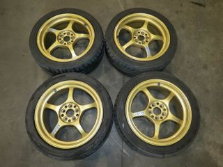Light S57C Gold Rims 5x100 17x7 5JJ 48 Subaru WRX 225 45 17