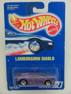 Hot Wheels 1991 Blue Card Lamborghini Diablo Purple