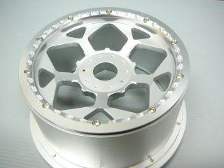 2X Rear Silver CNC Alloy Wheel Rims HPI Baja 5B Tires