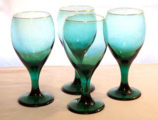 4Vintage Antique LIBBEY Emerald Mint Green Stemmed Glasses Gold Rims