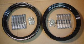 Pair of 16 Black Wheel Rims Spoke Sets 4 Harley Knucklehead Panhead