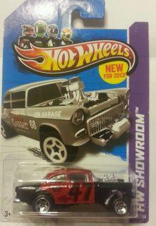 2013 Hot Wheels 55 Chevy Bel Air Gasser Custom Red Black
