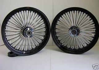 Black Mammoth Fat 52 Spoke Wheels Harley 16x3 5 16x5 5