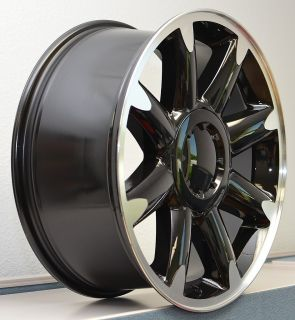 Chevy Silverado GMC 1500 Tahoe Wheel Rim Black Machine Set 4