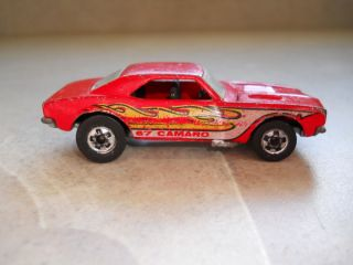 82 Hot Wheels67 Camaro Red with White and Yellow Flames Redline Era