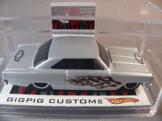 Nova Flamed Silver Custom Hot Wheels Gigpig Customs 66 Chevy