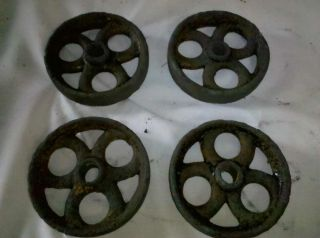 Vtg Set 4 Early Cast Iron Wheels Industrial Machine Age Old Table