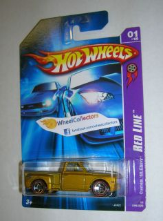 Custom 69 Chevy Truck Gold w Red Lines 2006 Hot Wheels Red Line
