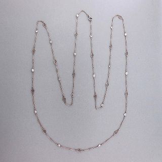1930s 36 inch Chain Platinum Open Wire Link Tube Set Diamond 1 68ct