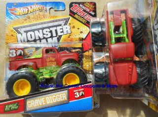 HOT WHEELS RED OLD GRAVE DIGGER Monster Jam EDGE GLOW Truck 1 64 TRUCK