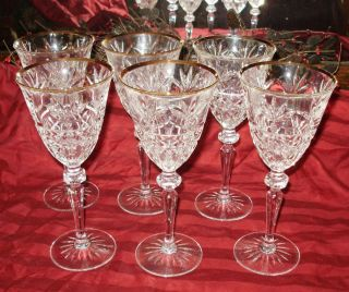 ANTIQUE SET OF 6 WINE GLASSES STEM WARE GILDED RIMS CUT GLASS DESIGN