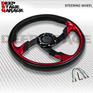 Universal 6 Bolt Aluminum 320mm Racing Steering Wheel Black Red Zig