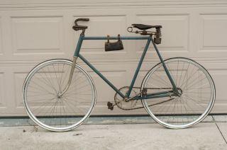 1910 COLUMBIA BIKE WOODEN RIMS TOOL BAG VINTAGE SEAT BLOCK CHAIN NICE