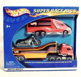 2002 Hot Wheels Super Race Rigs Scorchin Scooter 2 Trucks OEM Factory