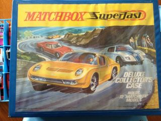 of 69 Vintage 1970s Matchbox Hot Wheels Cars with Matchbox 72 car case