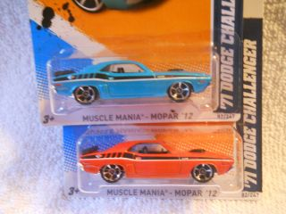 2012 HOT WHEELS 82 71 DODGE CHALLENGER 2 VARIATIONS MUSCLE MANIA MOPAR
