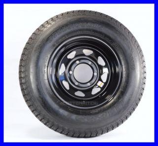 Two Trailer Tires Rims H78 15ST 15 D 6 Lug Hole Bolt Wheel Black