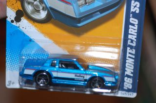 2012 Hot Wheels 86 Chevy Monte Carlo SS  Blue   Holley Equiped  Hard