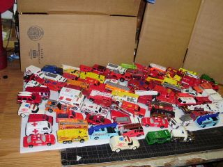 85 Die Cast Fire Rescue Hot Wheels Matchbox etc Cars Trucks Lot