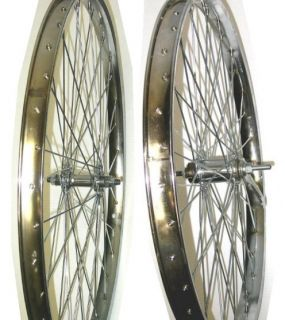 Beach Cruiser Bike 26x2 125 Rear Front Wheels Rims 12g H Chrome