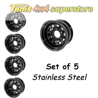Ridge 5 Set Black Steel Wheels 15x8 5x5 5 Jeep CJ5 CJ7 CJ8