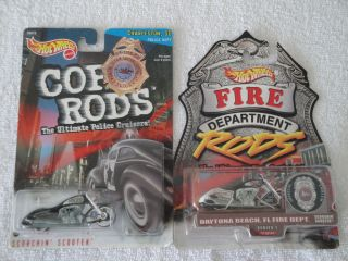Hot Wheels Cop Rods and Fire Department Rods Scorchin Scooter Lot of