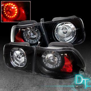 96 00 CIVIC 2DR COUPE JDM LED RIM ALTEZZA TAIL LIGHTS LAMPS BLACK
