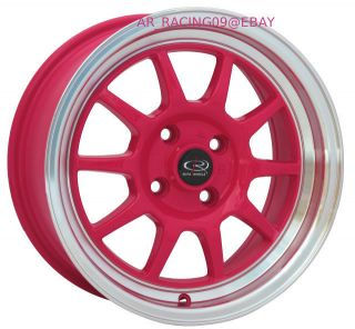 15 15x7 Rota Wheels Rims GT3 Pink 92 93 94 95 96 97 98 99 00 01 Civic