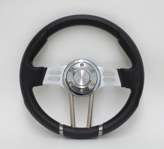 Chrysler Dodge Plymouth 14 Black Vinyl Aluminum Steering Wheel Set
