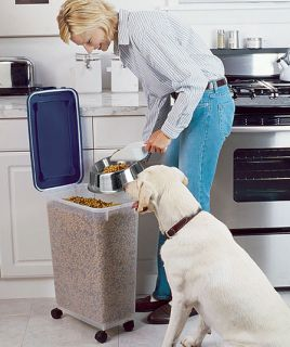 Food Container w Scoop Store Dog Cat Food Litter Air Tight Wheels Slim