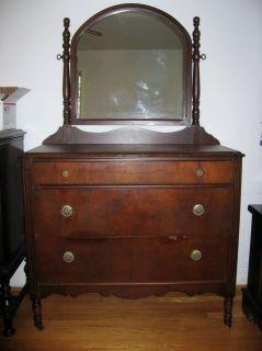 Dresser Swing Swivel Mirror Chest of Drawers Wood Wheels LOCAL PICKUP