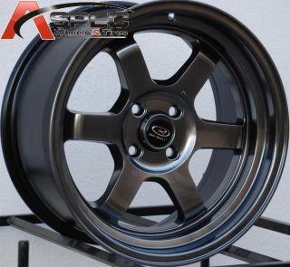 16x8 Rota Grid V Wheels 4x100 Rim 20mm Offset Hyper Black