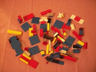 BUILDING BRICKS MIXED LOT OF 113 PIECES RED BLUE WHITE WHEELS & MORE