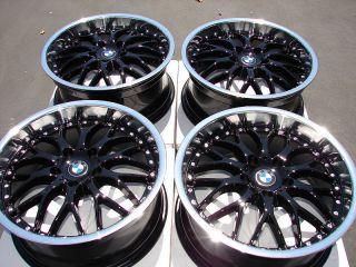 Black Wheels BMW 323 325 335 128 135 330 318 Polished Lip 5 Lug Rims