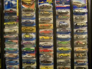 Huge Lot of 51 Hot Wheel Muscle Cars with Display Board * Very Good