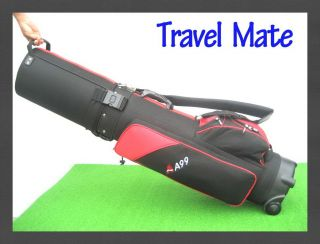 Grey A99 Travel Mate Hybrid Golf Bag Hard Case Wheels Black Red