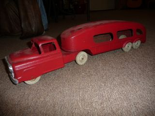 Steel Vintage Car Carrier Hauler Red White Wheels rare toy truck