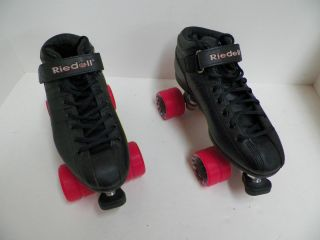 Riedell R3 Black on Pink Cayman Wheels Speed Roller Derby Skates Size