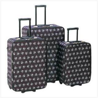Black Skull Stylish Weels w Handle Travel Luggage Set