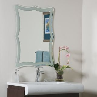 Wave Edge Frosted Rim Modern Frameless Wall Mirror