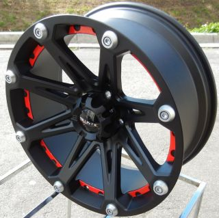 BLACK RED BALLISTIC JESTER WHEELS RIMS TOYOTA TUNDRA SEQUOIA 5X150