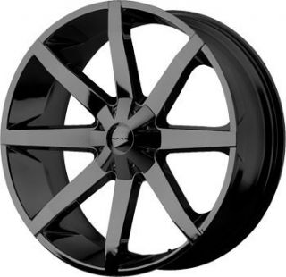 24 inch KMC Slide Gloss Black Wheels Rims 6x135 F150 Expedition