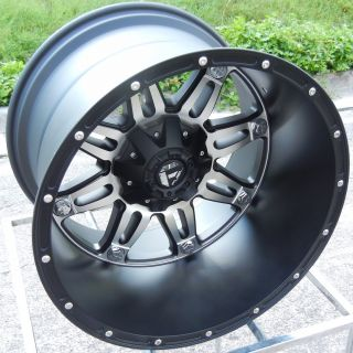 BLACK MACHINED FUEL HOSTAGE WHEELS RIMS FORD F250 F350 EXCURSION
