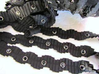Yard Black Pleated Fold Silver Rim Rhinestone 1 Trim Band Sewing